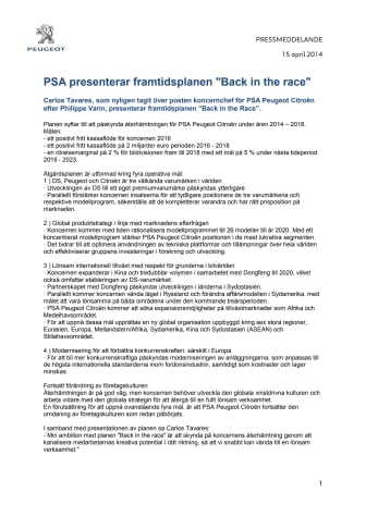 "PSA presenterar framtidsplanen ""Back in the race"""