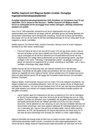 Staffan Asplund och Magnus Nydén invalda i Kungliga Ingenjörsvetenskapsakademien