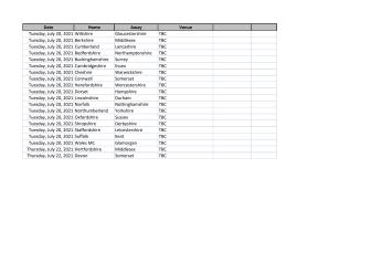 2021 National County fixtures