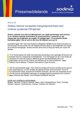 Sodexo tecknar europeiskt mångmiljonkontrakt med Unilever avseende FM-tjänster