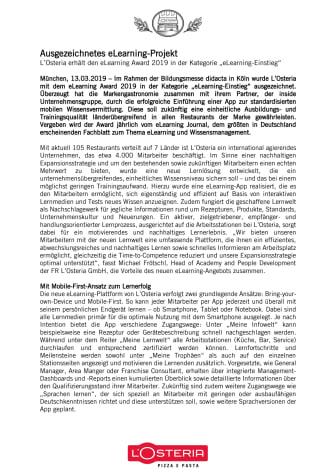 """L'Osteria erhält den eLearning Award 2019 in der Kategorie """"eLearning-Einstieg"""""""