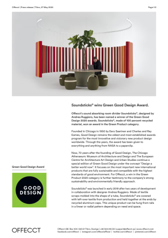 Offecct Press release Green Good Design Award 2020 Soundsticks® by Andrea Ruggiero_EN