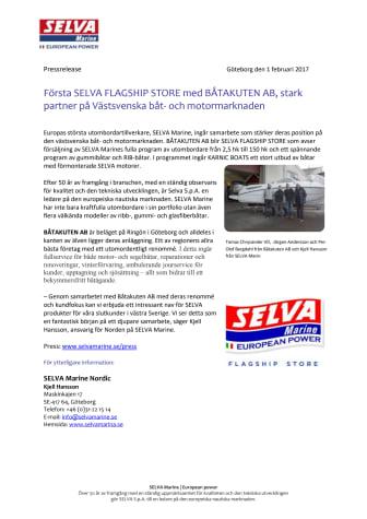 Första SELVA FLAGSHIP STORE med BÅTAKUTEN AB, stark partner på Västsvenska båt- och motormarknaden