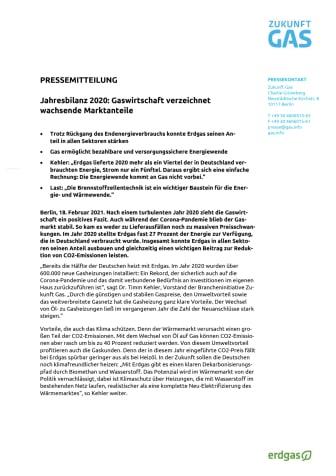Jahresbilanz 2020: Gaswirtschaft verzeichnet wachsende Marktanteile
