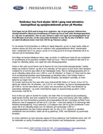 Ford Nytårskur 2016: Attraktive leasingtilbud & opsigtsvækkende priser på Mondeo