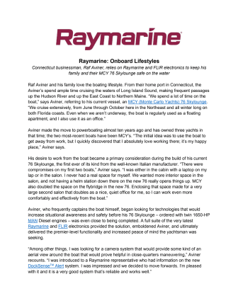 Raymarine: Onboard Lifestyles