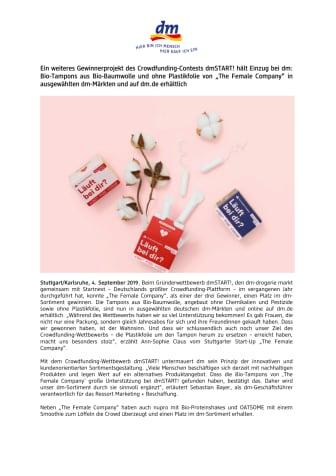 """Ein weiteres Gewinnerprojekt des Crowdfunding-Contests dmSTART! hält Einzug bei dm: Bio-Tampons aus Bio-Baumwolle und ohne Plastikfolie von """"The Female Company"""" in ausgewählten dm-Märkten und auf dm.de erhältlich"""