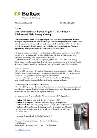 Nyhet. Den revitaliserande inpackningen – fjärde steget i Hårkontroll Hair Beauty Concept.