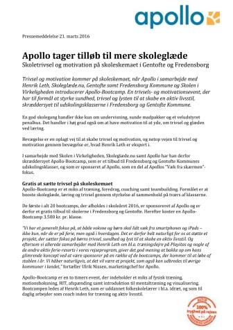 Apollo tager tilløb til mere skoleglæde