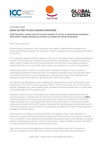 Öppet brev till G20:s finansministrar: Uppskjutna betalkrav på statsskulder ett måste för hanteringen av coronapandemin