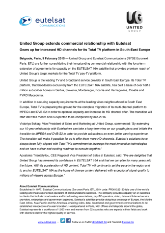 United Group extends commercial relationship with Eutelsat