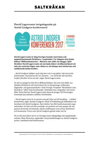 David Lagercrantz invigningstalar på  Astrid Lindgren-konferensen den 14 november!