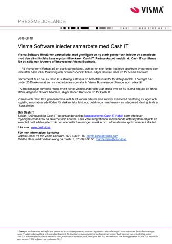 Visma Software inleder samarbete med Cash IT