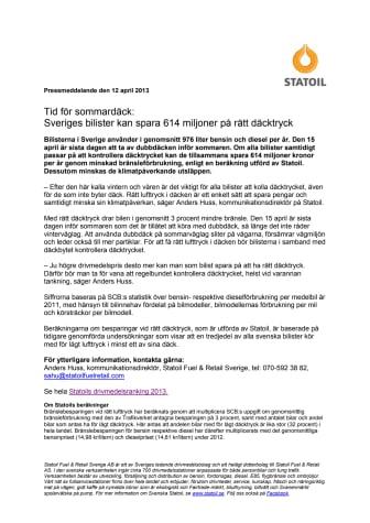Tid för sommardäck: Sveriges bilister kan spara 614 miljoner på rätt däcktryck