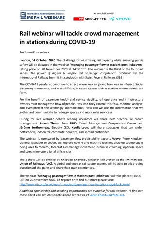 Rail webinar will tackle crowd management in stations during COVID-19