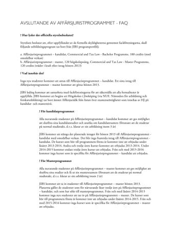 FAQ om Affärsjuridik - svenska