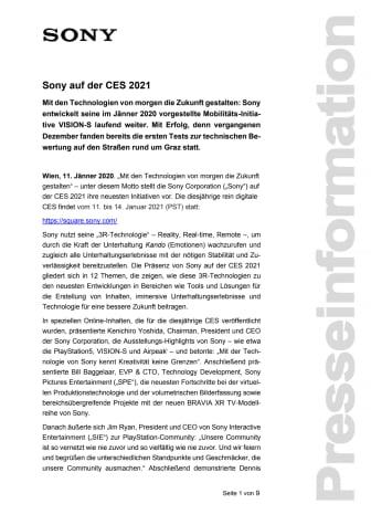 Sony auf der CES 2021