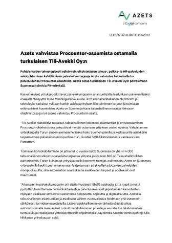 Azets vahvistaa Procountor-osaamista ostamalla turkulaisen Tili-Avekki Oy:n