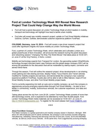 Ford afslører nyt projekt ved London Technology Week