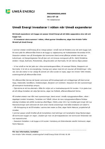 Umeå Energi investerar i näten när Umeå expanderar