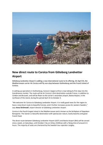 New direct route to Corsica from Göteborg Landvetter Airport