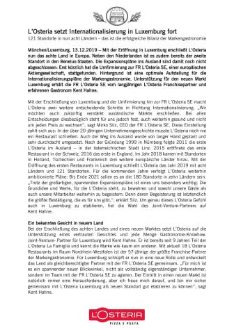 L'Osteria setzt Internationalisierung in Luxemburg fort