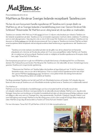 MatHem.se förvärvar Sveriges ledande receptbank Tasteline.com