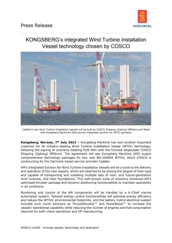 KONGSBERG's integrated Wind Turbine Installation Vessel technology chosen by COSCO