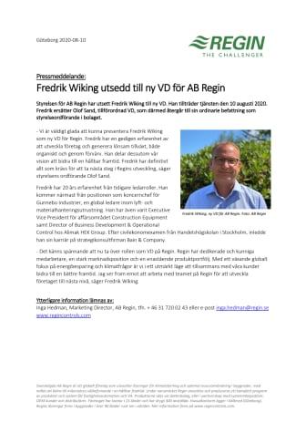 Fredrik Wiking utsedd till ny VD för AB Regin