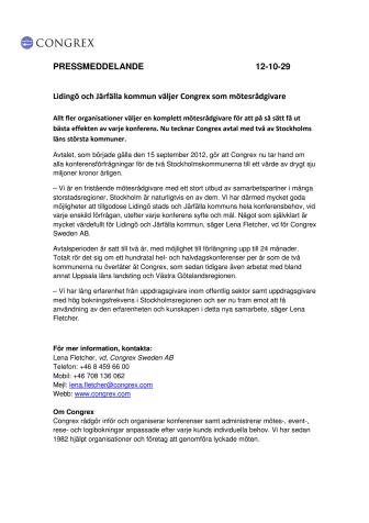 Lidingö och Järfälla kommun väljer Congrex som mötesrådgivare