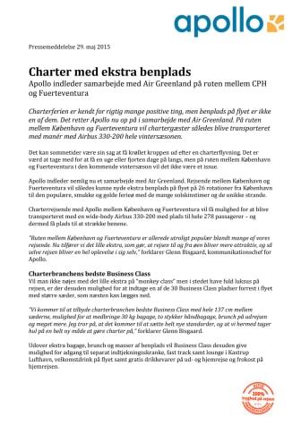 Charter med ekstra benplads