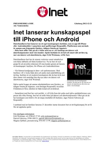 Inet lanserar kunskapsspel till iPhone och Android