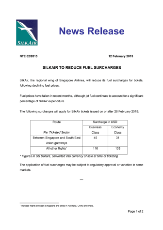 SilkAir to Reduce Fuel Surcharges