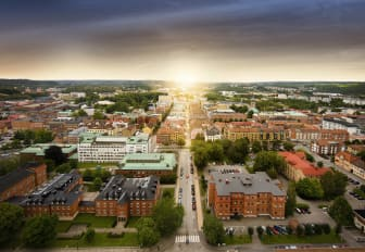 Vy över Borås stadskärna