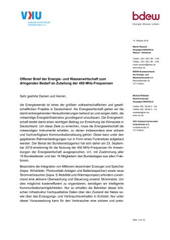 Offener Brief der Energie- und Wasserwirtschaft zum  dringenden Bedarf an Zuteilung der 450 MHz-Frequenzen
