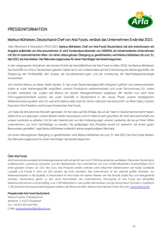 Markus Mühleisen, Deutschland-Chef von Arla Foods, verlässt das Unternehmen Ende Mai 2021