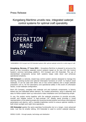 Kongsberg Maritime unveils new, integrated waterjet control systems for optimal craft operability