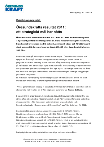 Öresundskrafts resultat 2011: ett strategiskt mål har nåtts