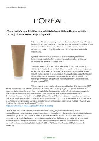 L'Oréal ja Albéa ovat kehittäneet merkittävän kosmetiikkapakkausinnovaation: tuubin, jonka raaka-aine pohjautuu paperiin