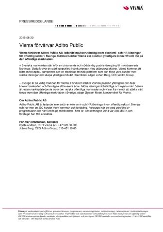 Visma förvärvar Aditro Public