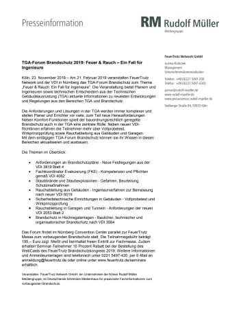 TGA-Forum Brandschutz 2019: Feuer & Rauch – Ein Fall für Ingenieure