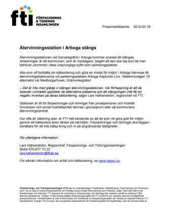 Återvinningsstation i Arboga stängs