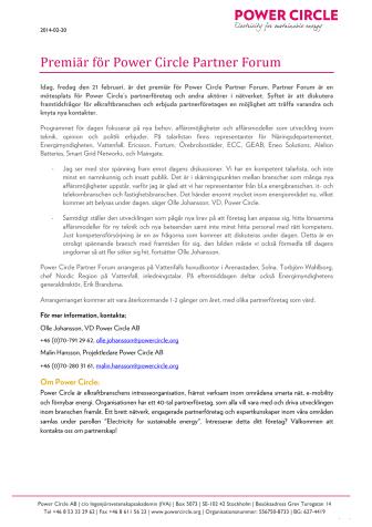 Premiär för Power Circle Partner Forum