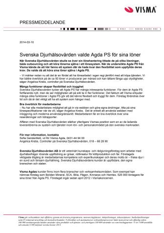 Svenska Djurhälsovården valde Agda PS för sina löner