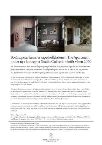 Boråstapeter lanserar tapetkollektionen The Apartment under nya konceptet Studio Collection inför våren 2020