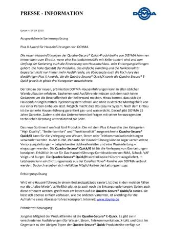 DOYMA-Pressemitteilung: Plus X Award für DOYMAs neue Sanierungslösung