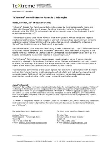 TeXtreme® contributes to Formula 1 triumphs