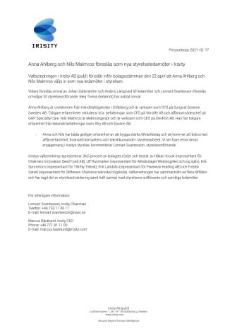 Anna Ahlberg och Nils Malmros föreslås som nya styrelseledamöter i Irisity