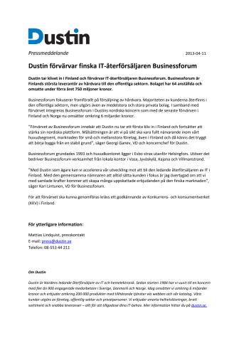 Dustin förvärvar finska IT-återförsäljaren Businessforum