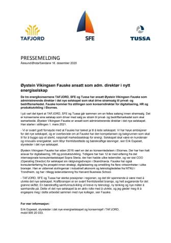 Øystein Vikingsen Fauske ansatt som adm. direktør i nytt energiselskap